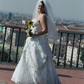 I bought a sunflower for my bride during our honeymoon photo shoot in Florence, Italy.