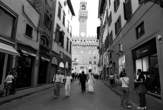 That's the Palazzo Vecchio at the end of the street, look closely and you'll see Zeke and me in our wedding attire!