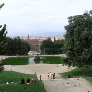 Looking down the hill to the Pitti Palace and on to historic Florence.