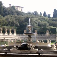 A variety of figures surround this fountain in the Boboli Gardens.