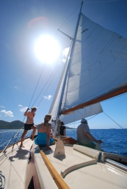 Sailing on Winifred between St. Thomas and St. John, USVI.