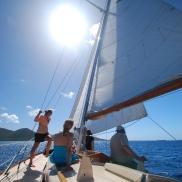 Sailing on Winifred between St. Thomas and St. John, USVI.