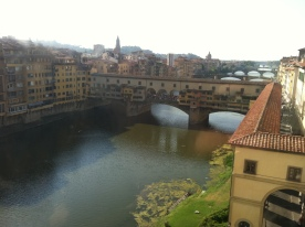 From the Uffizi Gallery you can see the Vasari Corridor as it snakes its way toward the Ponte Vecchio.