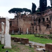 The temple of the Vestal Virgins in the Roman Forum.