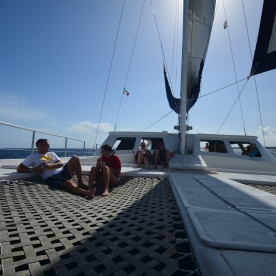 Relaxing aboard the Cata Maya with Local Quickies.