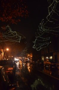 The trees along Market Street are decorated with white lights, a sure sign the holiday season is underway.