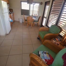 The living room, dining room, kitchen combo at Tamarind, Guavaberry Spring Bay