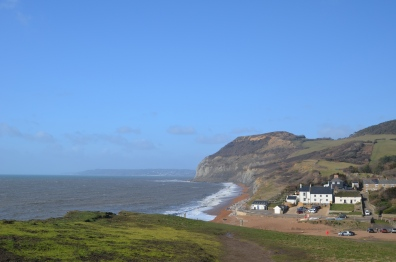 A wide shot from the bluff across from the inn on a rather windy day.