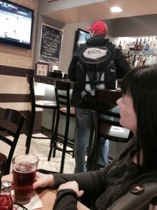 Watching hockey at the airport