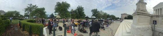 Media gather outside the U.S. Supreme Court in anticipation of a ruling on gay marriage, June 26, 2015.
