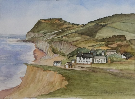 A watercolor of the Anchor Inn at Seatown, England