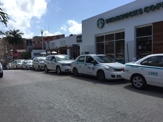 The Taxi Stand at Calle 10 Norte and 5 Ave in Playa Del Carmen