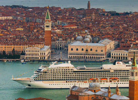 The Viking Sea Sailing Past the Piazza San Marco in Venice.