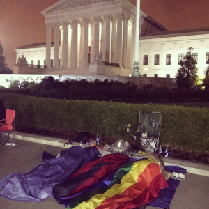 The early morning hours at the Supreme Court of the United States on the day the Court ruled in favor of LGBT Marriage.