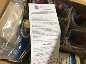 The note from the TSA/Customs to inform us they opened the box for special screening.