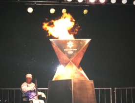 The Olympic flame visiting Martinsburg, WV in 2002.