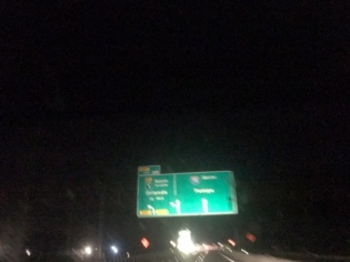It's dark, I'm driving, but if you squint you can see the sign points to Orlando and Tampa.
